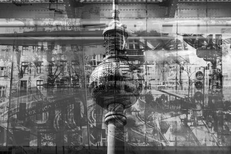 Fototapete - Berlin Collage Schwarz Weiß