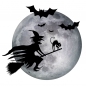 Preview: Fenstersticker Halloween Hexe Mond
